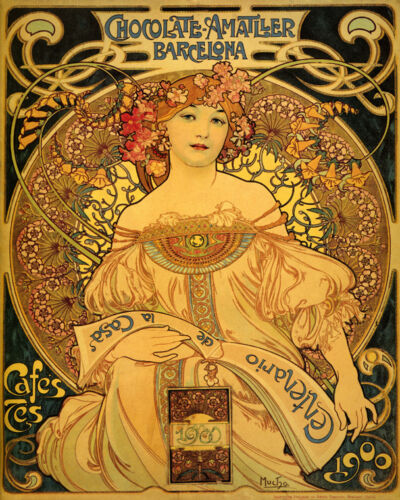 Chocolate Amatller Barcelona Candy Mucha Spain 16X20 Vintage Poster FREE S//H