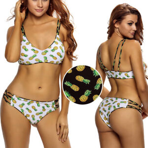 1d4d255afb 2019 2PC Reversible Criss Cross Pineapple Padded Top Bikini Bathing ...