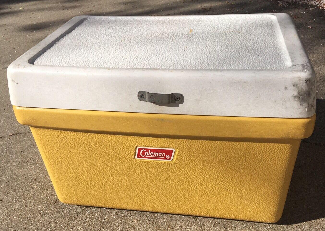 Vintage Coleman Metal  Handle Mustard Yellow  Plastic Cooler Dated 1976 Antique  100% genuine counter guarantee