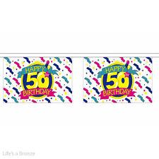 "Bunting. Happy Birthday 50th  9 x 6"" . 30 Flags"