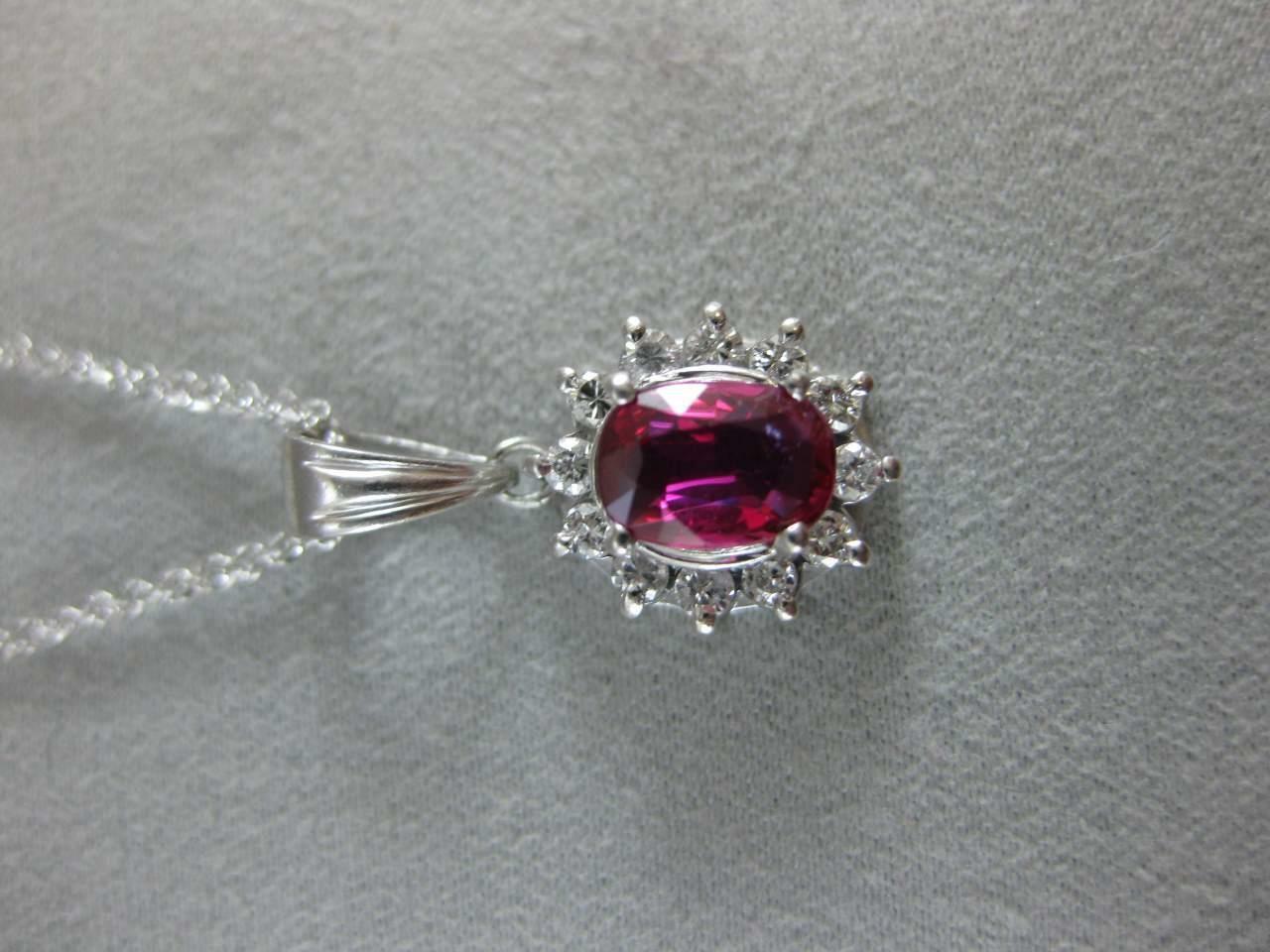 ESTATE 1.65CT DIAMOND RUBY PATINUM LADY DIANA CLU… - image 2