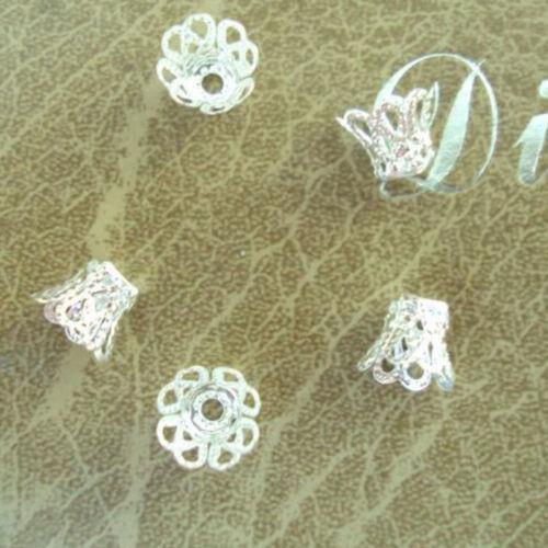 100 Filigrane Blume Tasse Form Silber Lose Perlenkappen Für Schmuckherstellun JM