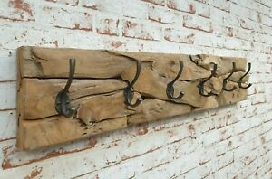 Wandgarderobe-Teak-Natur-Holz-Garderobe-Retro-Antik-Massiv-Vintage-Unikat-90-cm
