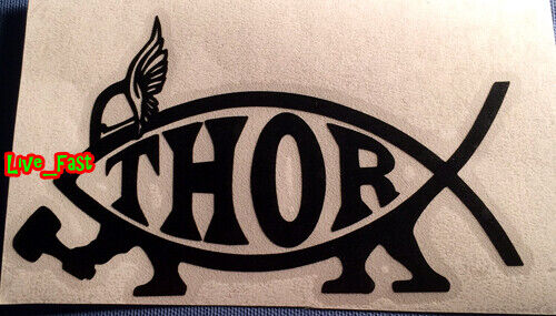 THOR VIKING FISH STICKER DECAL asatru pagan odinism nordic norse heathen tyr
