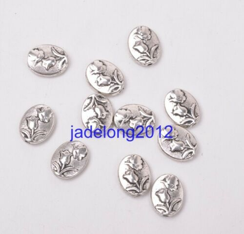 15pcs Tibetan Silver Bead Flower Spacer Beads 11x9mm C3067