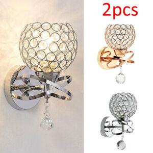 2PCS-Chrome-Crystal-LED-Wall-Light-Lamp-Bedroom-Living-Room-Home-Decor-NEW-UK