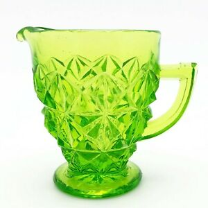 Vintage-Green-Glass-Footed-Creamer-with-Handle