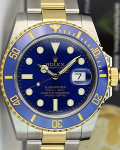 ROLEX-2017-18kt-Gold-amp-SS-Submariner-Blue-Ceramic-BOX-TAG-116613LB-SANT-BLANC