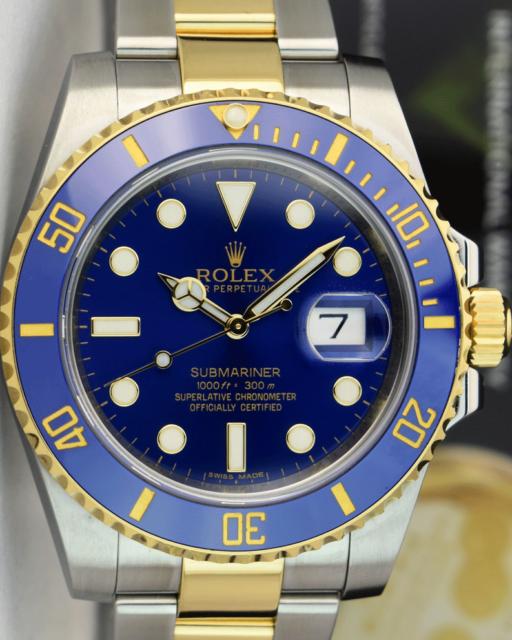 ROLEX 2017 18kt Gold & SS Submariner Blue Ceramic BOX TAG 116613LB SANT BLANC