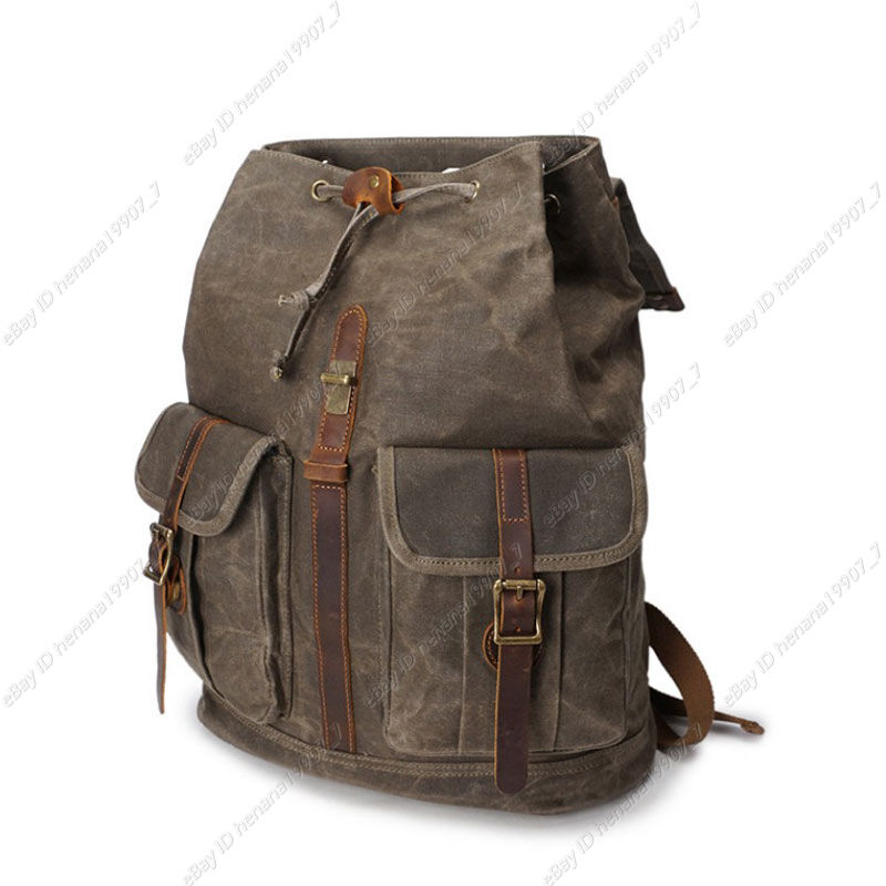 b57efe4b79ab Retro Oil Wax Canvas Outdoor Sports Travel Bag Backpack Rucksack Daypack Men  New