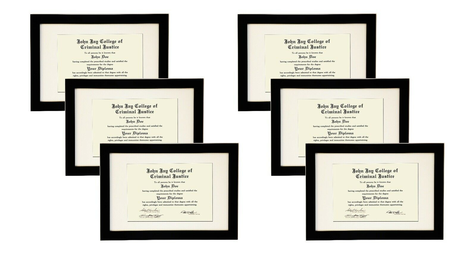 STUDIO 500 6-PACK~11x17-inch Black Wide Picture Frames Mat For 8.5x11 Documents