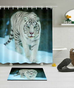 Image Is Loading White Tiger Animal Print Fabric Shower Curtain Sheer