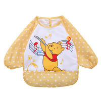 Cute Cartoon Children Baby Waterproof Long Sleeve Self Feeding Bib Apron Smock