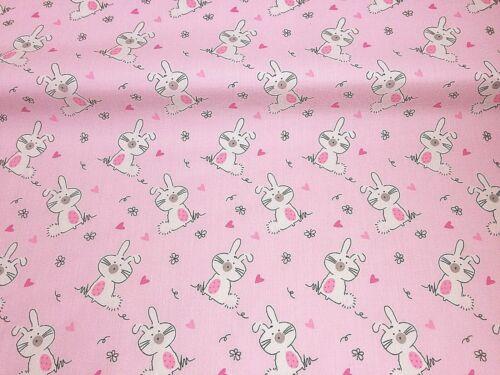 Bundle Remnant Polycotton Fabric 75 cm x 100 cm Pink Fluffy Bunny Rabbit EASTER