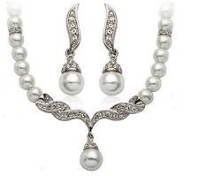 Tear Drop Silver Tone Pearl Necklace Earrings Wedding Bridal Trendy Jewelry Set
