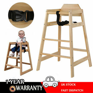 Kids-Baby-Wooden-Feeding-Commercial-Home-High-Chair-with-Tray-Safety-Design