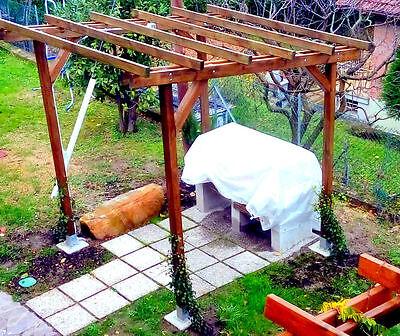 Pergola gazebo 3x2 in legno impregnato, copertura da esterni pompeiana tettoia