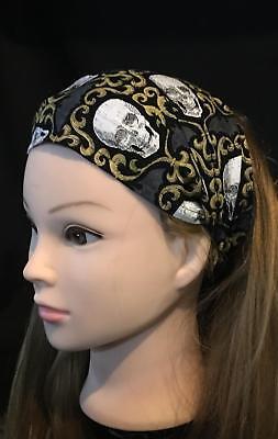 Gothic Skulls Bats Wide Elasticated Hair Headband Alexander Henry Feeanddave