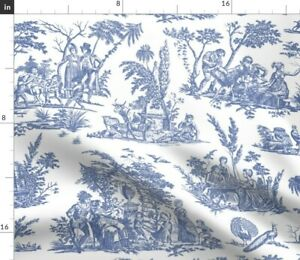 Toile-Blue-French-Romantic-And-White-Willow-Fabric-Printed-by-Spoonflower-BTY