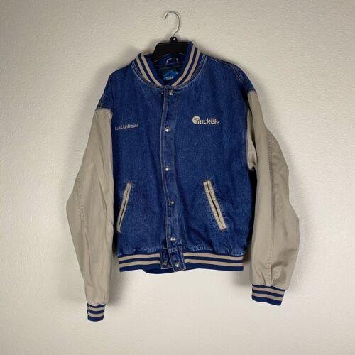 Tri Mountain Varsity Denim Jacket Size Large