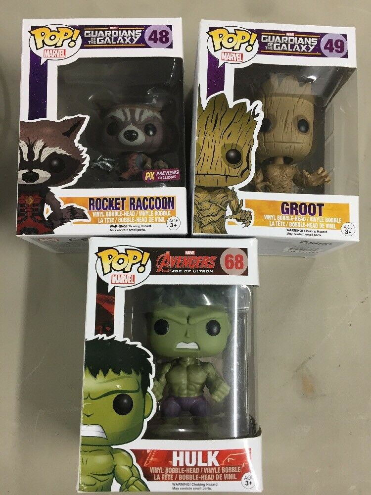 Funko POP Marvel Guardian of The Galaxy Groot,raccoon, Hulk BobbleHead Figures