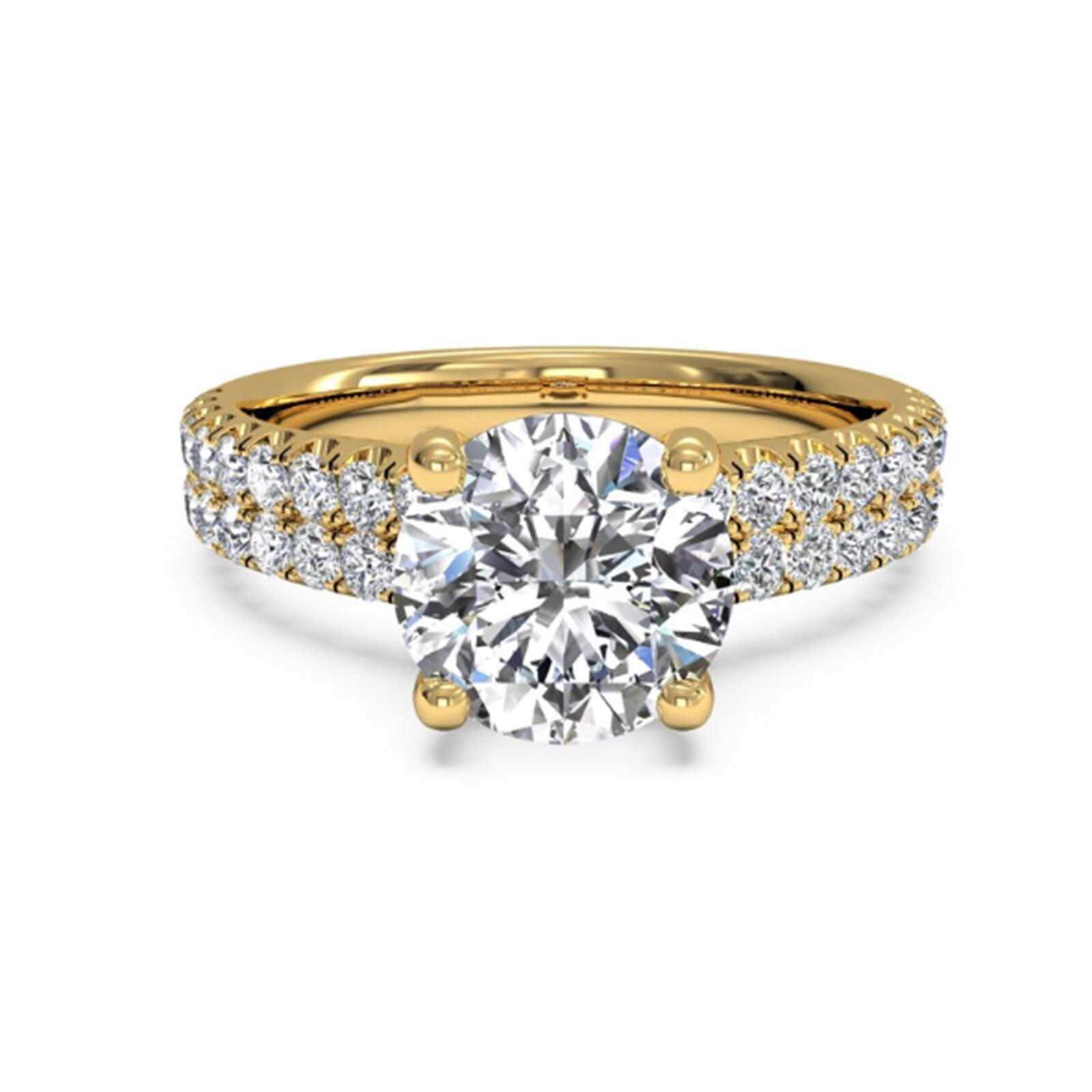 1.60 Ct Diamond Engagement Rings 14K Yellow gold Round Cut VVS1 D Size 6 7 8