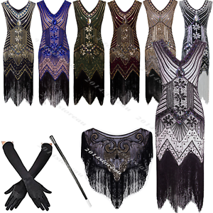 1920s-Flapper-Dress-Vintage-Great-Gatsby-Party-Fringed-20s-Sequin-Beaded-Costume