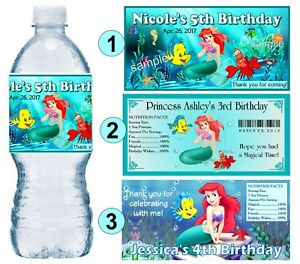 20 DISNEY PRINCESS PERSONALIZED BIRTHDAY PARTY FAVORS WATER BOTTLE LABELS