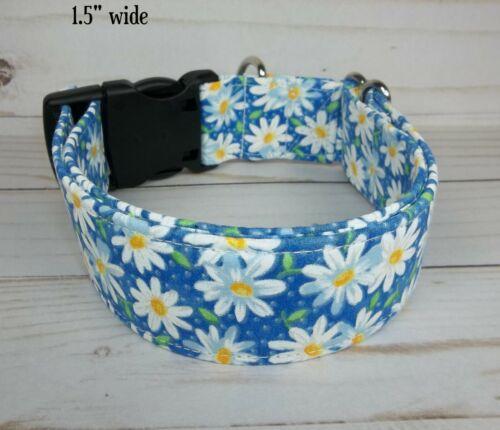 White Daisy blue flowers Terri/'s Dog Collar handmade adjustable charming fabric