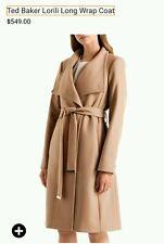 Ted Baker lorili London Taupe Nevia Beige Long Wool Belted Wrap Coat Size 1 US 4