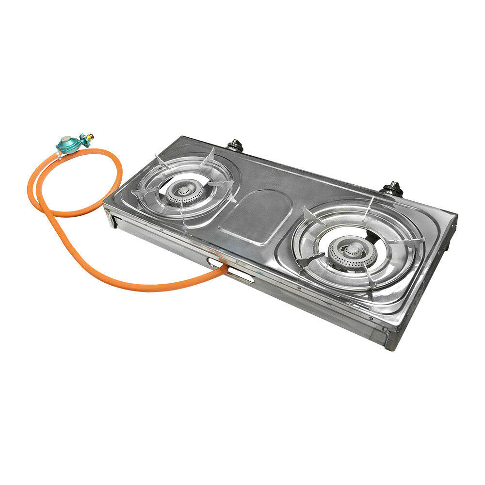 Portable Camping Outdoor 2 Burners  Stove Propane Gas Stove BTU 20000  sale online discount low price
