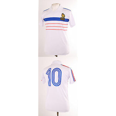 FRANCE EURO 84 1984 RETRO WHITE AWAY PLATINI 10 FOOTBALL SHIRT MAILLOT MEDIUM M