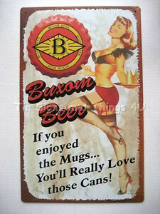 Buxom-Beer-ad-PinUp-Love-Those-Cans-TIN-SIGN-vtg-bar-garage-metal-wall-decor-OHW