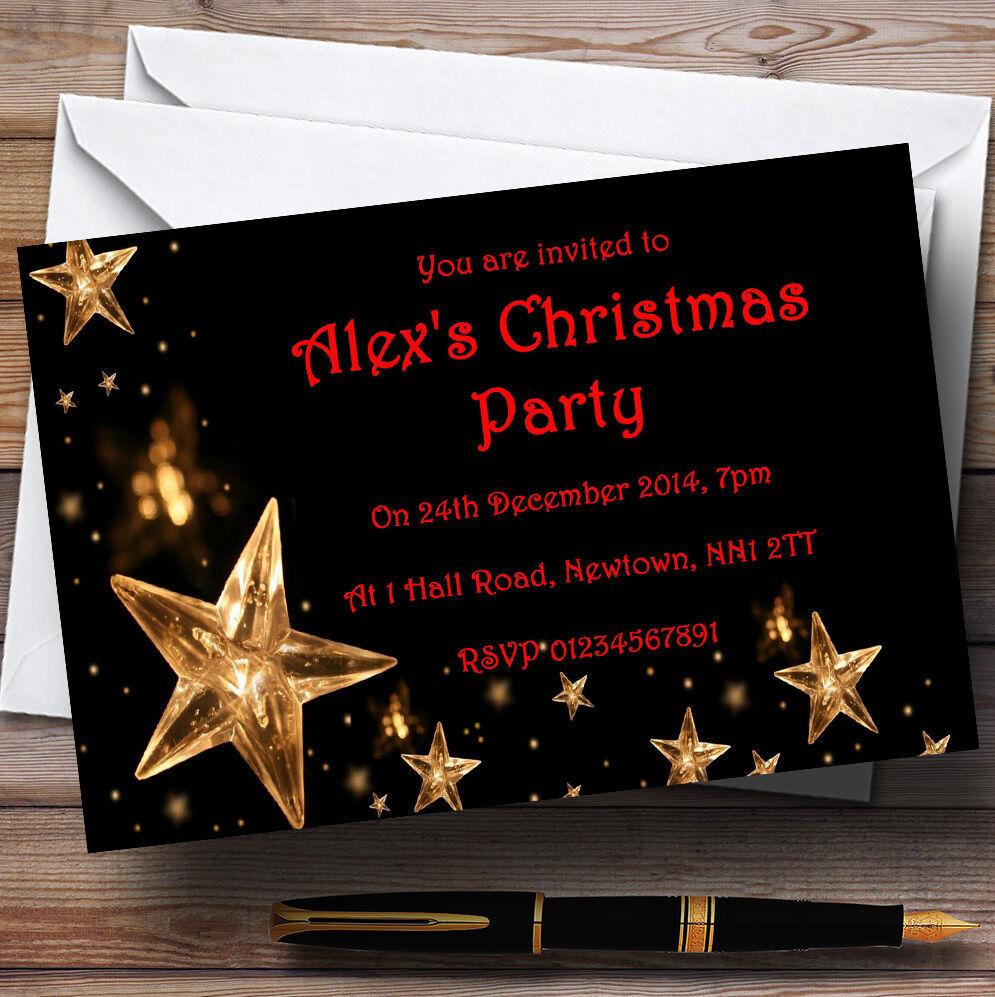 Étoiles dorées invitations invitations dorées personnalisées fête de Noël 93635c