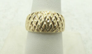 14K-Yellow-Gold-Diamond-Cut-Basket-Weave-Style-Ring-11mm-Size-10-D3324