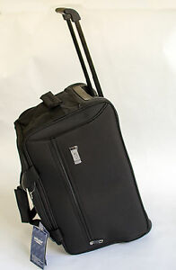Wheeled-Holdall-Travel-Bag-Trolley-Cabin-Bag-Hand-Luggage-Black-Smart-Business