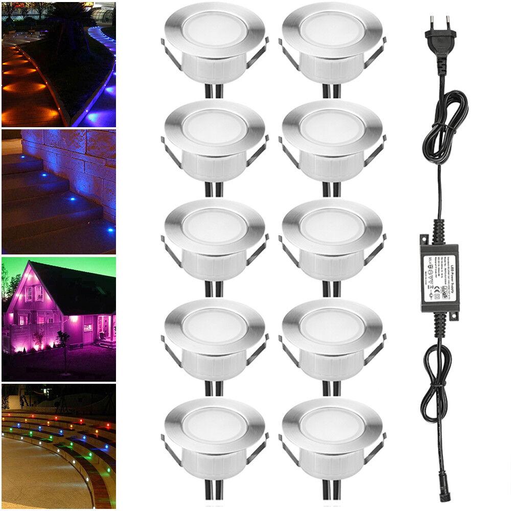 10er Set 61mm RGB LED Einbaustrahler Einbauleuchte Außenlampe Spot Wasserdich