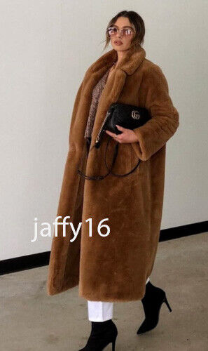 ZARA NEW WOMAN LONG SINGLE BUTTON COAT WITH FAUX FUR CAMEL XS-XXL 1255//015