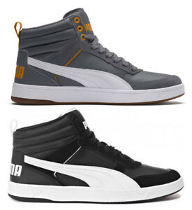 b3e9c8fa91 Details about Puma Rebound Street V2 Mens Trainers Shoes High Sneakers  Suede Leather Black
