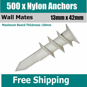 500-x-Nylon-Anchors-Screws-13mm-x-42mm-Wall-Mates-Wallmates-For-Plaster-Board