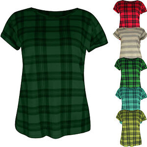 Womens-Ladies-New-Rolled-Cap-Sleeve-Print-Check-T-shirt-Top-Tee-Short-Summer