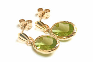 9ct-Gold-Oval-Peridot-Drop-Earrings-Gift-Boxed-Made-in-UK-Birthday-Gift
