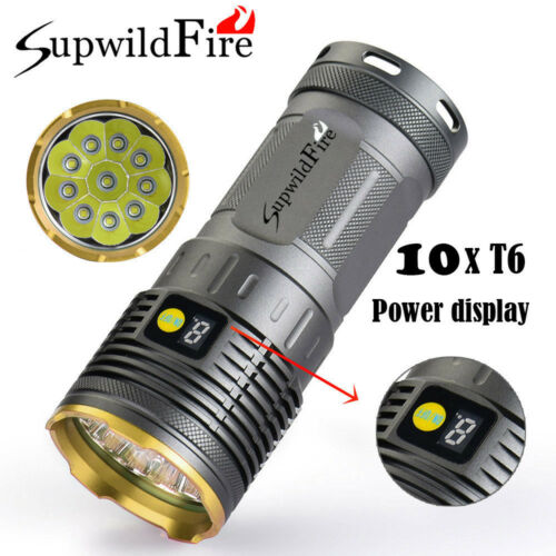 Bright Supwildfire 7//8//9//10//12X XM-L T6 LED Power Digitalanzeige Taschenlampe D
