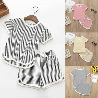 Toddler Kids Baby Girls Outfit Clothes Striped T-shirt Tops+Shorts Pants Set UK