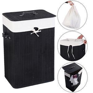 Rectangle Bamboo Hamper Laundry Basket Washing Cloth Bin