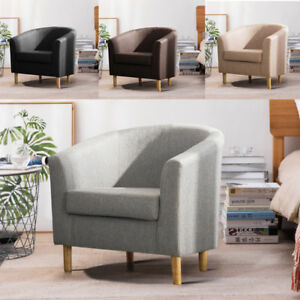Fine Details About Contemporary Linen Tub Armchair Small Sofa Fabric Lounge Bedroom Dining Chair Uk Andrewgaddart Wooden Chair Designs For Living Room Andrewgaddartcom