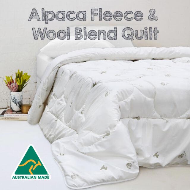 Australian Made Luxury 500gsm Winter Weight Alpaca Fleece Wool Blend Quilt/Duvet