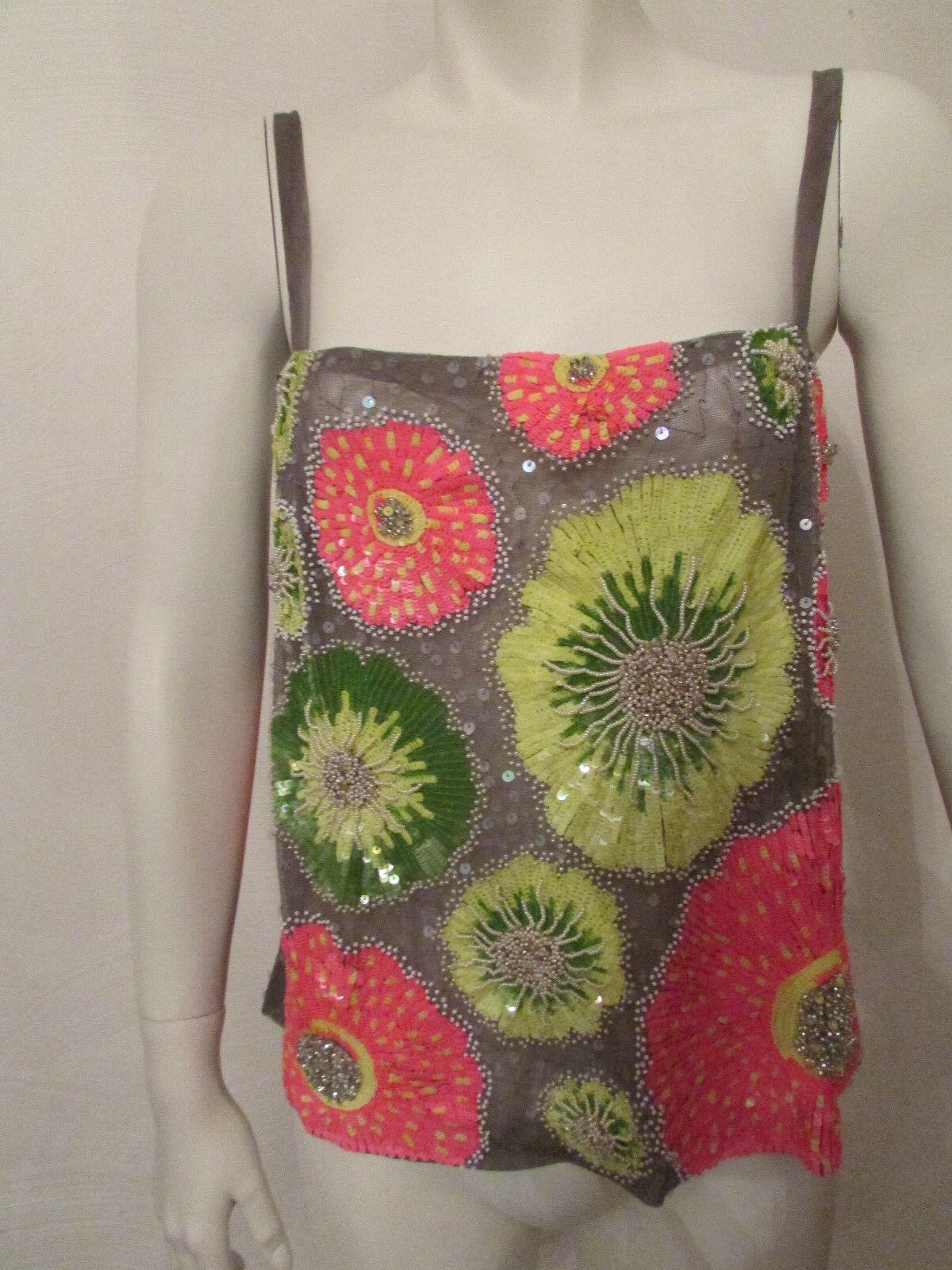 BNWT 3450 Work of Art Tuleh tank top blouse camisole multi coloROT beaded sz 6