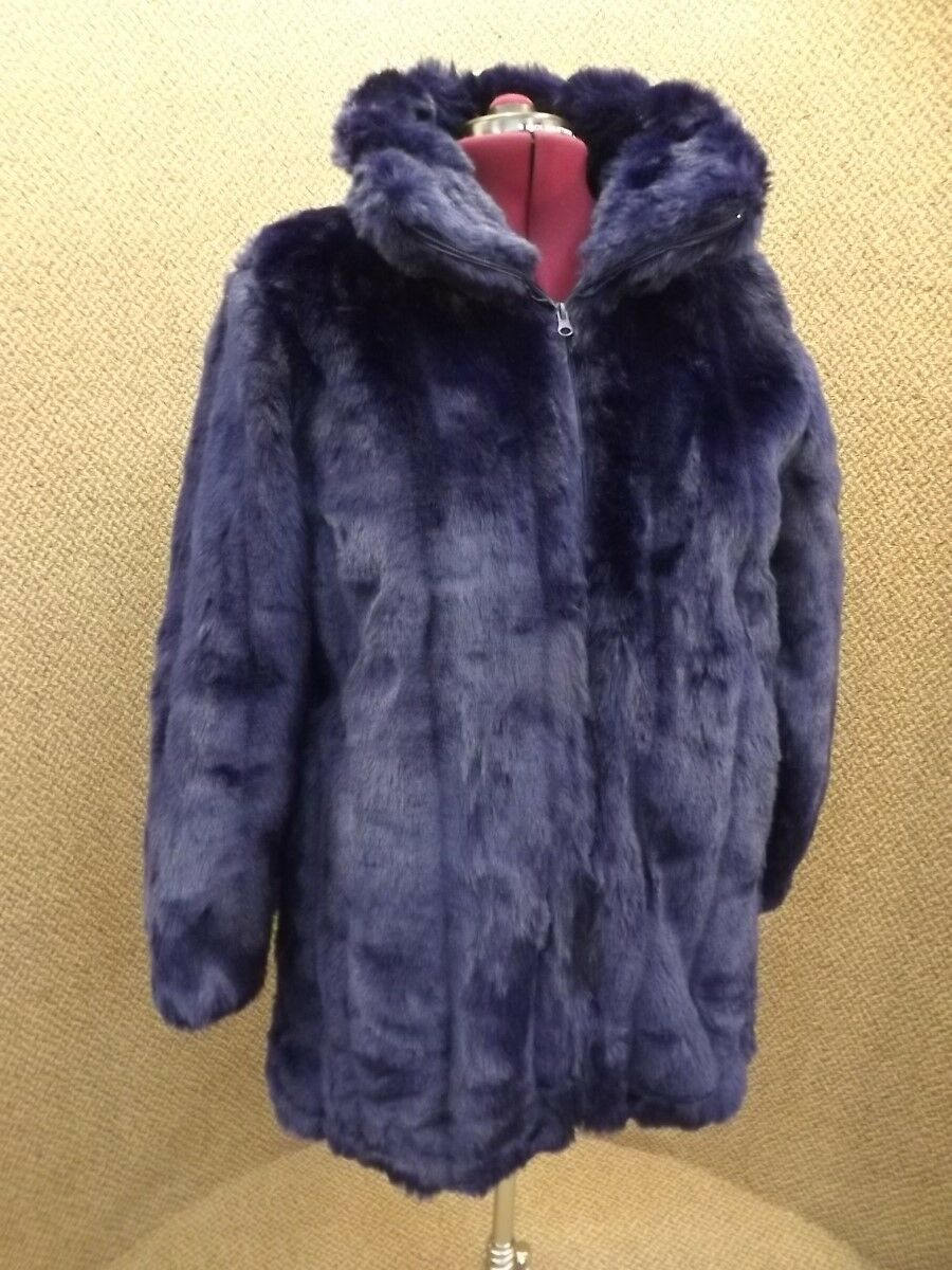 NEW Luxurious Short Length Zip Up Brilliant bluee Faux Fur Coat Womens Plus Sz L