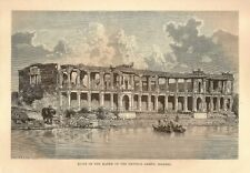 India 1876 Wood Engraving RUINS OF THE HAREM OF THE EMPEROR AHMED SIRKHEJ